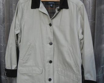 SALE Lands End Women's Field Coat ,Beige Corduroy Collar and Cuffs, Tartan Plaid Flannel lined, SIZE  M 41'' Chest