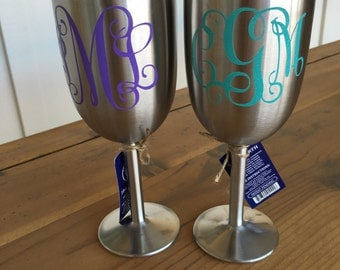 Monogram wine glass stainless steel insulated with lid bridesmaid gift