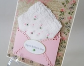 Mother's Day Vintage Lace Edge Embroidered Handkerchief Daisies Mom Pink White Keepsake Gift Happy Tears Hanky Card