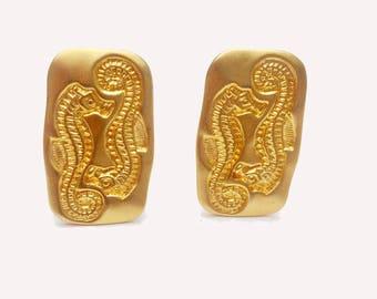 Liz claiborne Earrings - Sea Horse - Ocean Life  - Gold plated clip on earring