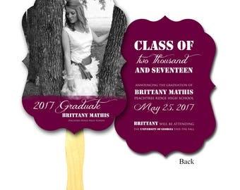 Graduation Photo Antique Frame Die Cut, Program Hand Fan- Graduate, Photo Paper Fan, Rustic Wedding, Paddle, Auction Paddle, Custom Printed
