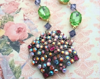 Fuscia, Purple, Lime Green Statement Necklace,Assemblage Necklace,Vintage Rhinestone Necklace,Joan Rivers,Eco Friendly,Bertha Louise Designs