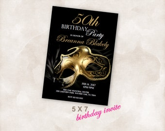 5X7 Birthday party invite Invitation Instant Download Just add your info and print!  Masquerade birthday party gold