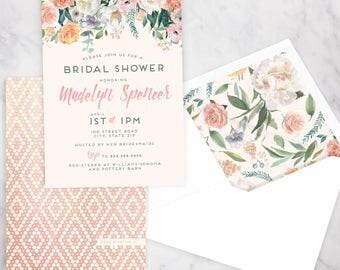 Watercolor Boho Floral Drop Bridal Shower Invitation, Floral Bridal Shower Invite, Boho Chic Bridal Shower Invite, Envelope Liner
