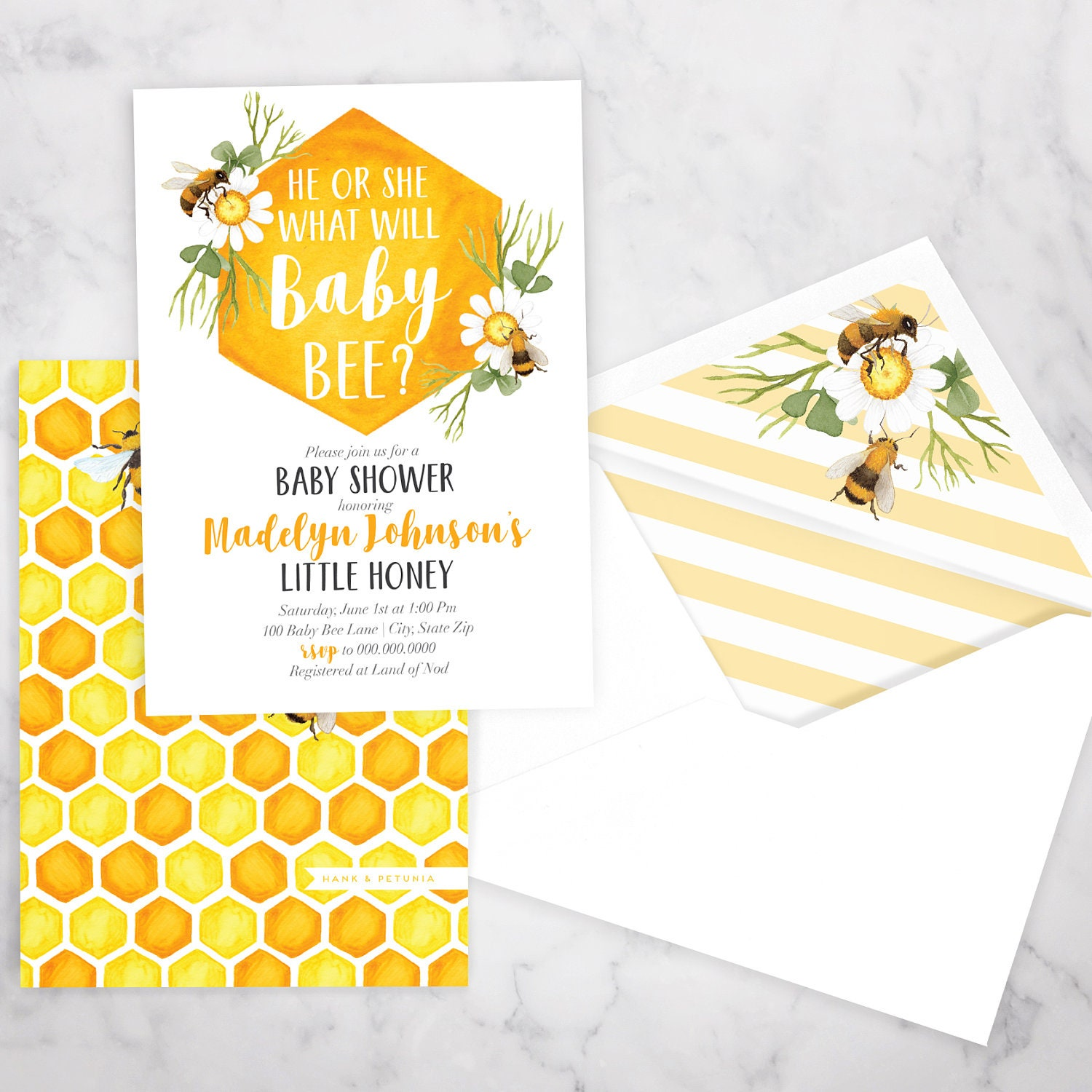 Baby Bee Baby Shower Invitation, Bee Gender Reveal, Honey Bee ...