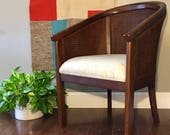 On HOLD for Margaret • Vintage • Barrel Chair • Mid Century • Caned