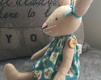 Wool blend Bunny Rabbit with turquoise floral dress. Can be personalised