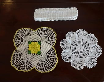 Lot of 3 Hand Crocheted Vintage Doilies