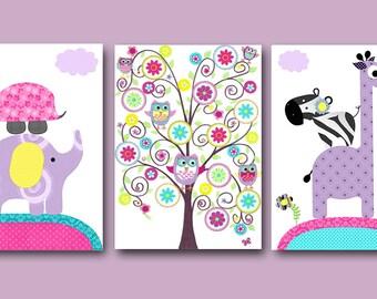 Stickers Pink Grey Blue Brown Baby Girl Wall Decor Canvas Nursery Print Canvas Elephant Giraffe Decor Baby Girl Nursery Wall Decor set of 3