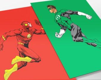 The Flash and Green Lantern Art Prints, Collection, DC Comics, Superheroes, Justice League, Fan Art, 16x23 Poster Prints (Two Prints)