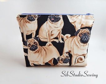 Pug Cosmetic Bag, 9 x 6 x 2 inches, Interior Vinyl Lined for Easy Clean, Zipper Closure, Padded, Pug Makeup Bag, Dog Toiletry Bag