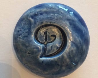 LETTER D Pocket Stone - Ceramic - DENIM BLUE Art Glaze - Inspirational Art Piece