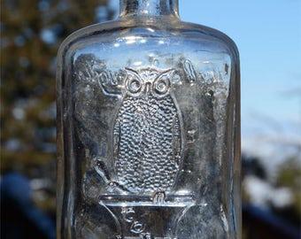 Nice LARGER sized old OWL DRUG Co Antique Bottle w/ pic Owl on druggist mortar, San Francisco Cal.