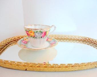 Vintage Mirrored Tray- Oval mirror tray- Perfume tray- Gold filigree tray- 1960s- Hollywood Regency -French Shabby