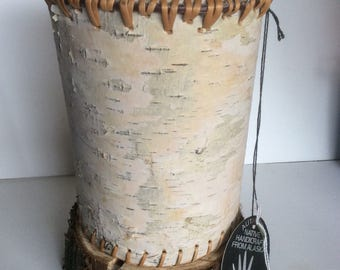 Native American Birch Bark Basket made in Alaska w/ original maker tag