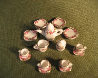 Miniature Pink Flower Tea Set, Tiny Tea Set