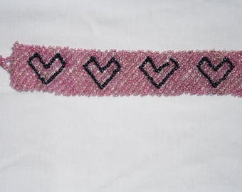 Seed Bead Pink with Black Heart Cuff Bracelet