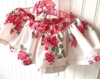 roses skirt baby SET diaper bloomers cover shower gift 18 months handmade of  vintage sheets