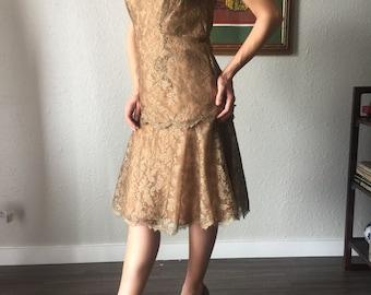 DESIGNER ESTEVEZ Vintage 60s does 20s style Dropwaist two tone lace Lace Dress Med / Roaring 20s Great Gatsby Lace   Drop Waist Party Dress
