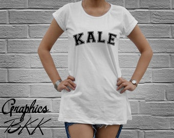 KALE Shirt Women's oversized T-Shirt Mini Dress Kale T-Shirt unisex tee funny slogan party Vegetarian (M-L) Free Shipping