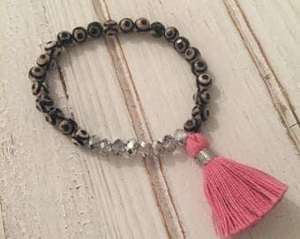 Evil eye agate pink tassel beaded bracelet; boho chic bracelet; mala bracelet; stack bracelet