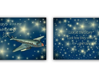 Airplane Nursery Wall Art, Boy Nursery decor, Always kiss me goodnight, SET 2, Nursery quotes art, Boy Nursery wall art, Airplane wall art