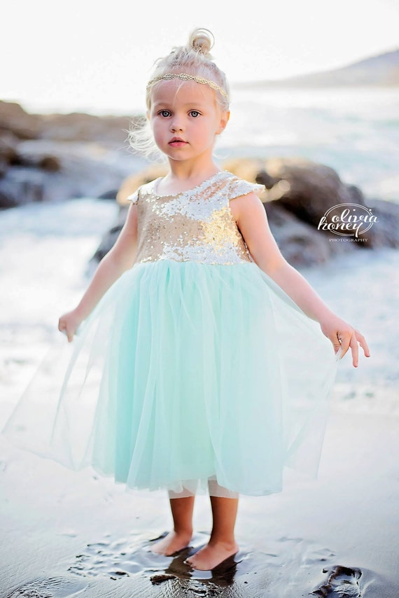 Mint and Gold Sequin Cap Sleeve Dress- Flower girl, Wedding, birthday, Girl, Toddler, Child, Tutu, tulle