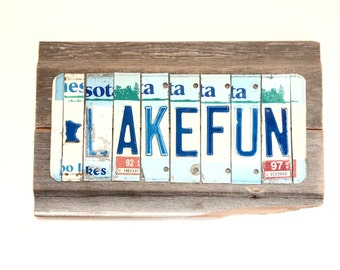 License Plate Sign - Lake Fun Sign - Minnesota Lake Fun - Blue and White Sign - Reclaimed Wood Sign - Reclaimed Metal Sign - Lake Cabin Sign