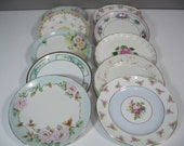 Vintage Luncheon Plates, Dessert Plates, Mismatched China,  Limoge, Haviland, Royal Doulton, Wedding Baby Shower, Vintage Wedding