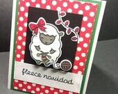Fleece Navidad - Christmas Card with Die Cut Sheep Knitting a Scarf - Christmas Sheep - Sheep Card - Lawn Fawn Cards