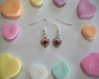 Pretty Red Rhinestone Heart Earrings