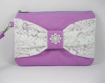 SUPER SALE - Lavender Purple with White Lace Bow Clutch - Bridal Clutches, Bridesmaid Wristlet, Wedding Gift - Made To Order