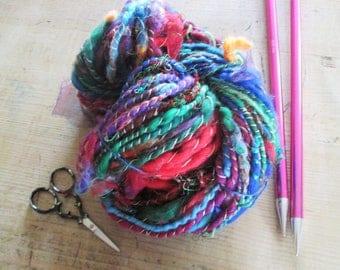 rainbow yarn, hand spun yarn, art yarn, accent yarn - carnival