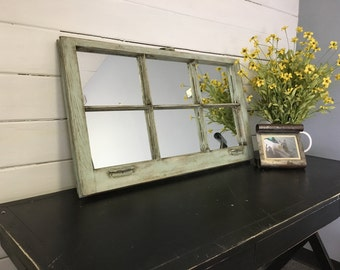 Blue Mirror, Window Pane Mirror, Window Mirror, Distressed Mirror, Window made into a Mirror, Handmade Mirror, Beach, Farmhouse furniture