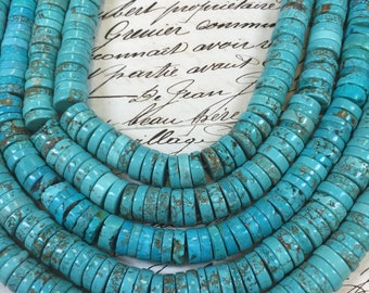 """Genuine Natural Turquoise Beads, 10mm x 3mm rondelle, turquoise heishi, gorgeous shades, 16"""" strand, turquoise rondelles, ~ 120 beads"""