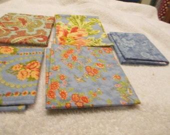 Fat Quarter Bundle with 5 FQs in blue, red, green florals Moda C8