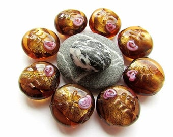 4pcs Brown Lampwork Lentil Glass Beads 20mm Lampwork Rose Beads Brown Silver Foiled Beads 20mm Lampwork Beads Craft Supplies Jewelry Making