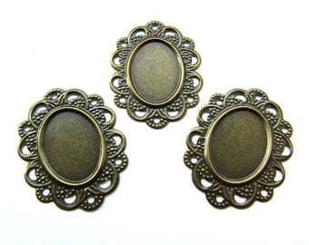 6pcs Antique Bronze Cameo Settings 18 x 13 mm Cabochon Base Setting Craft Supplies Jewelry making