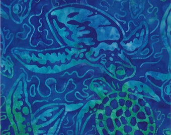 Robert Kaufman Batik Fabric, Totally Tropical 5, Caribbean, Turtles