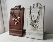 One Necklace Display Bust - Distressed White OR Brown Antique Architectural Salvage - Retail Jewelry Display - Quantities Available