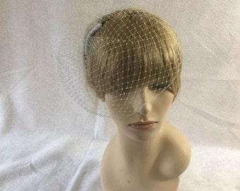 Grey Wedding Veil, Blusher Bridal Veil, Gray Detachable veil, Birdcage Veil, Gray Fascinator veil,  masquerade ball, bachelorette veil
