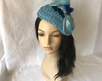 Baby Blue Church half Hat with bow and feather, Ladies Church hat, Light Blue Wedding hat, Mother of the Bride hat