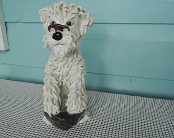 Poodle figurine, Intellectual spaghetti canine, Bookworm dog, Italy, Vintage