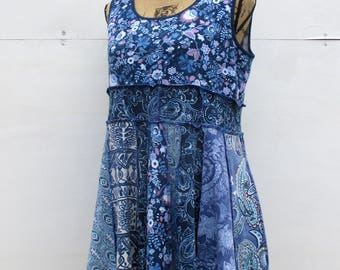 Upcycled Clothing - Summer Clothes - Feminine Tank Top - Sleeveless Tunic - Misses Garments - 12 14 - Blue Floral - Wearable Art - Vegan