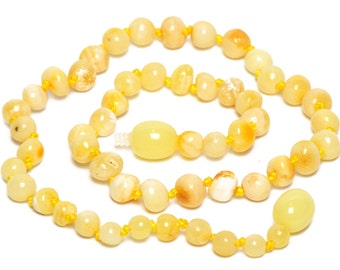 Royal butterscotch color Amber teething necklace for baby - Maximum pain relief  - Safety Knotted