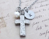 Cross Stainless Steel Charm Necklace, Personalized Hand Stamped Initial Birthstone Cross Charm Necklace