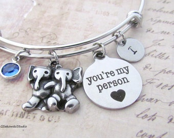 You're My Person Two Elephants Stainless Steel Personalized Hand Stamped Birthstone Initial Best Friend Sister Heart Charm Bangle Bracelet