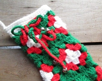 Kitsch Crocheted Stocking Christmas Vintage Stocking Red and Green