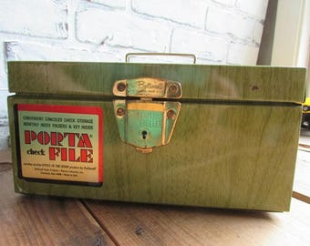 Porta File Faux Green Wood Vintage Office Supply Storage