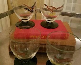 Glasses, vintage, deer, pheasants, green, stems, hunting